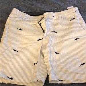 Nautical shark print shorts
